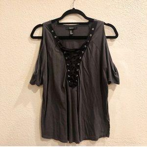 Forever 21 Grey and Black Cold Shoulder Shirt
